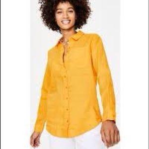 Boden yellow linen button down shirt us 8